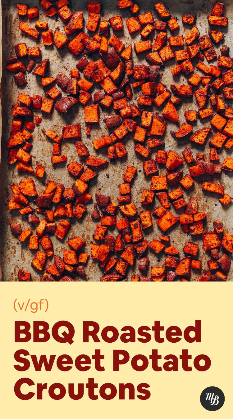 Assadeira de croutons de batata-doce