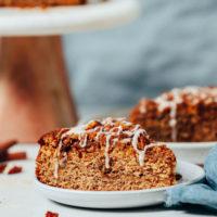 Slices of gluten free vegan coffee cake with glaze
