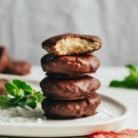 Stack of vegan chocolate peppermint patties