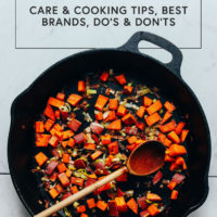 Cooking vegetables in a cast iron pan
