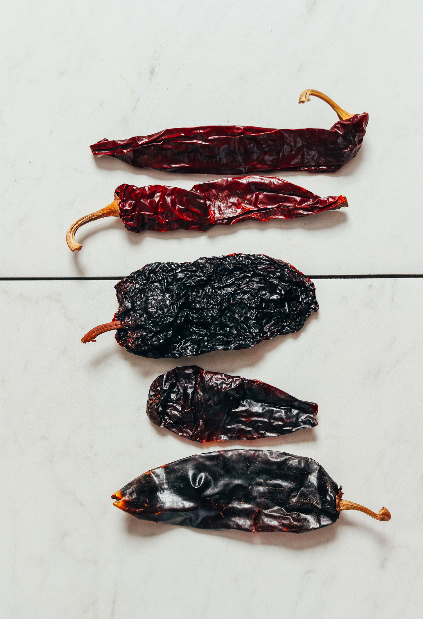 Dried ancho, New Mexico, and guajillo chilies