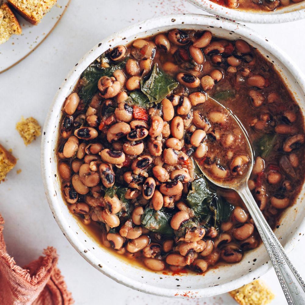 Bowl of smoky black eyed peas and collard greens