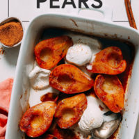 Pan of easy baked pears with vegan ice cream