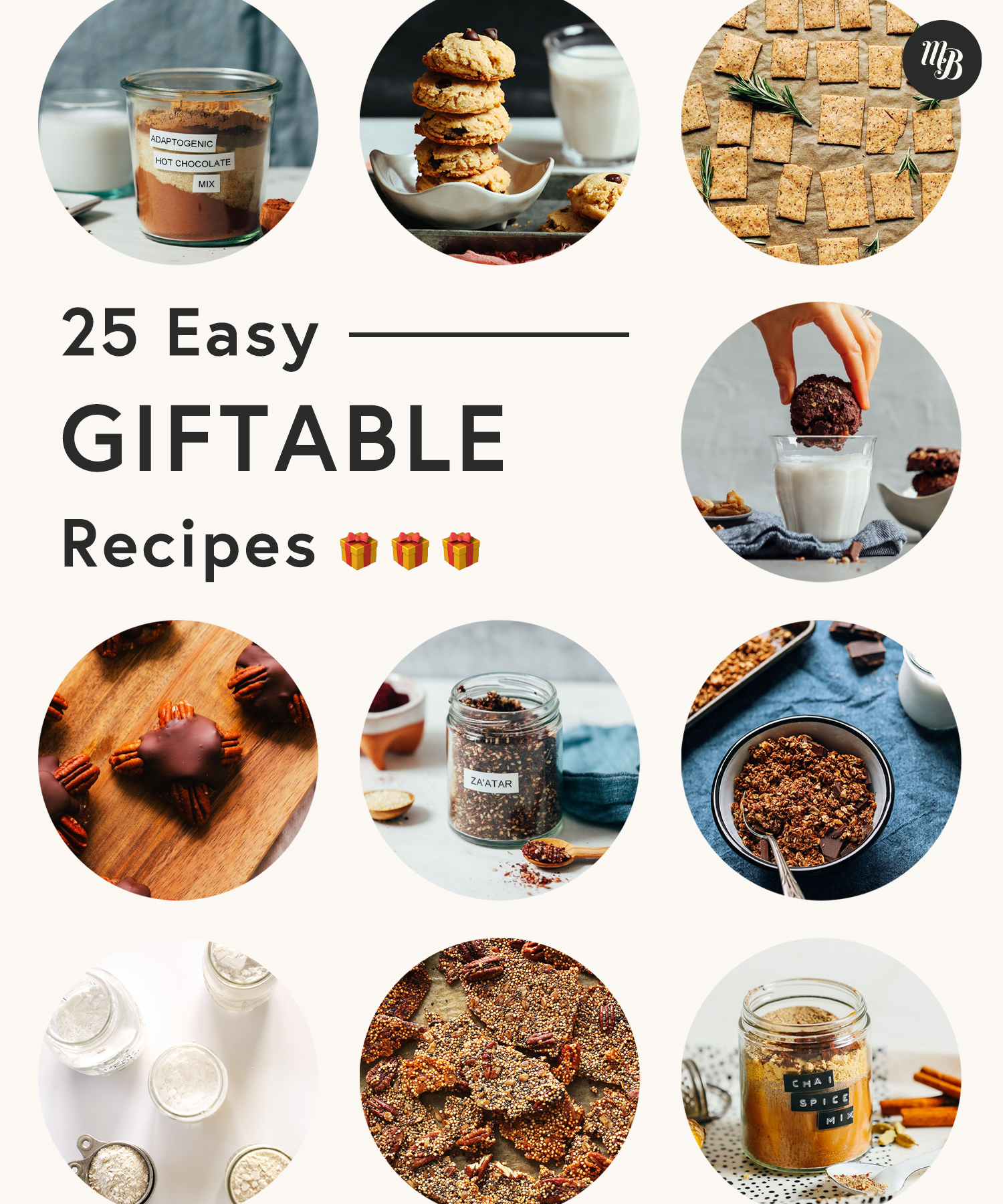 Assortment of cookies, granola, spice mixes and other easy giftable recipes