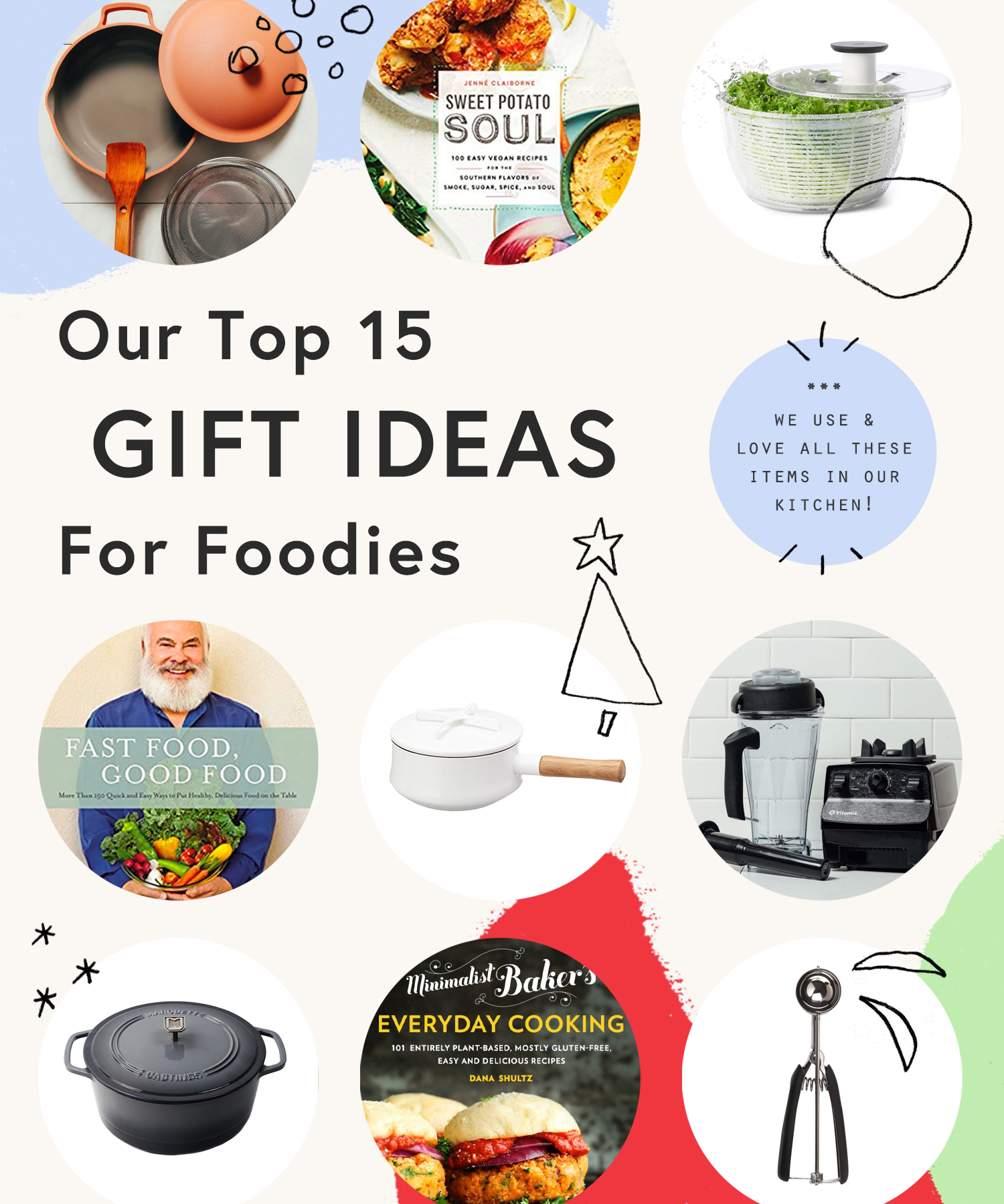 Assortment of holiday gift ideas for foodies