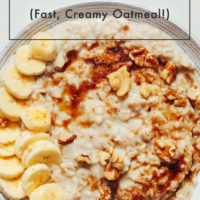 Bowl of Instant Pot oats topped with walnuts, banana, and sugar