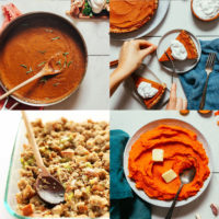Assortment of recipe photos of Thanksgiving dishes