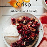Bowl of gluten-free orange cranberry crisp