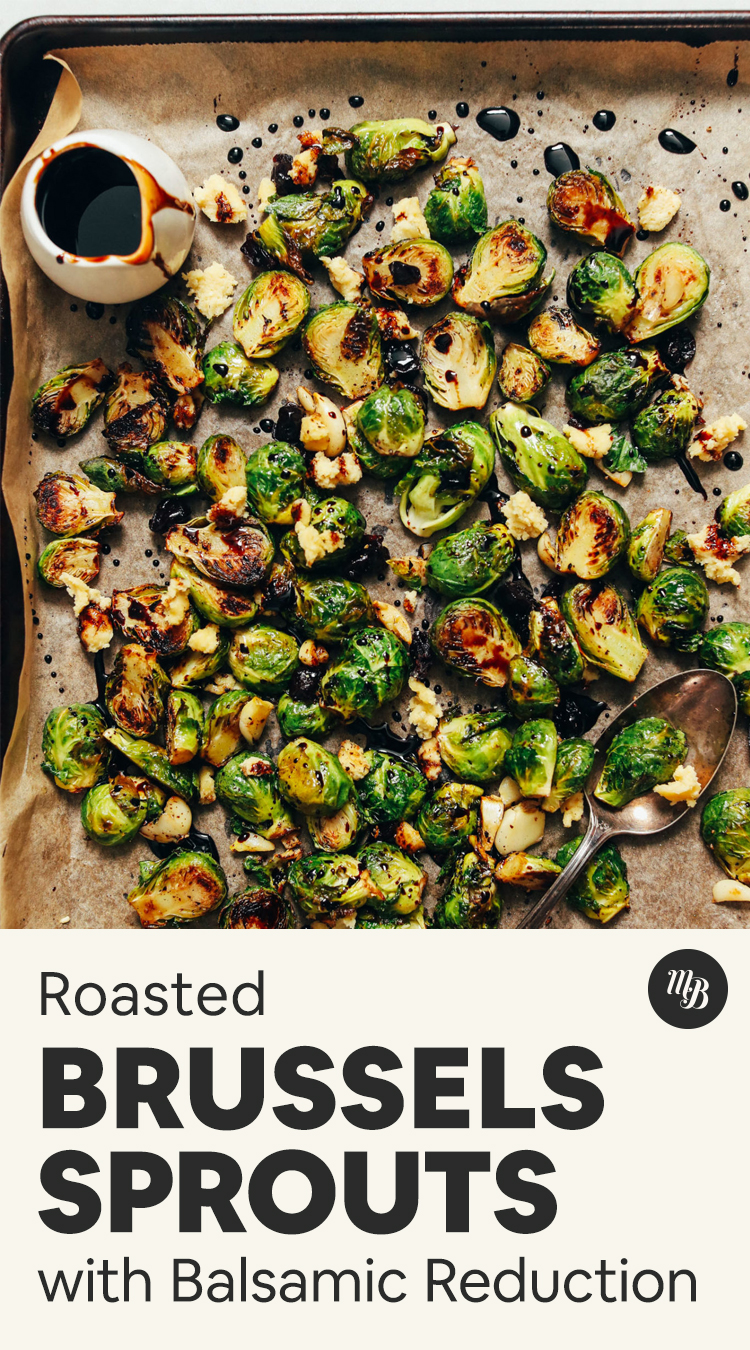 Pan of roasted Brussels sprouts with balsamic vinegar
