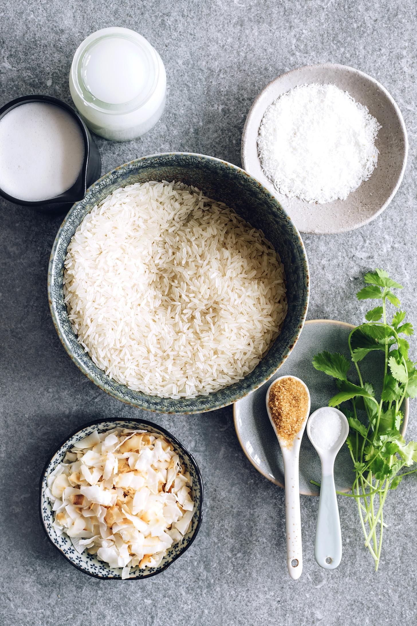 Leite sem leite, água de coco, arroz, coco ralado, sal, açúcar, coentro e flocos de coco