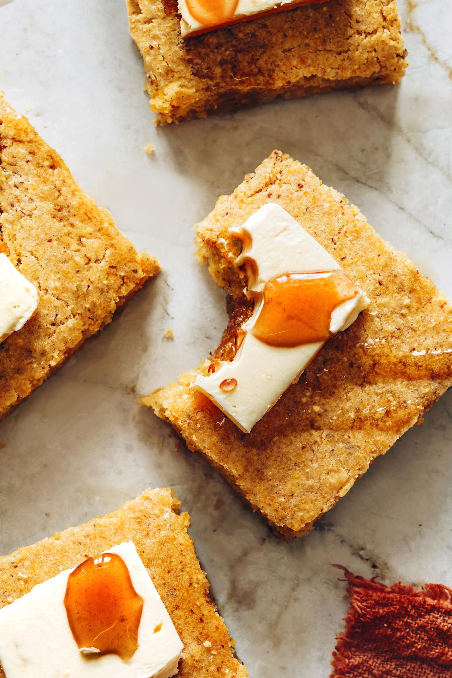 Slices of the best vegan cornbread