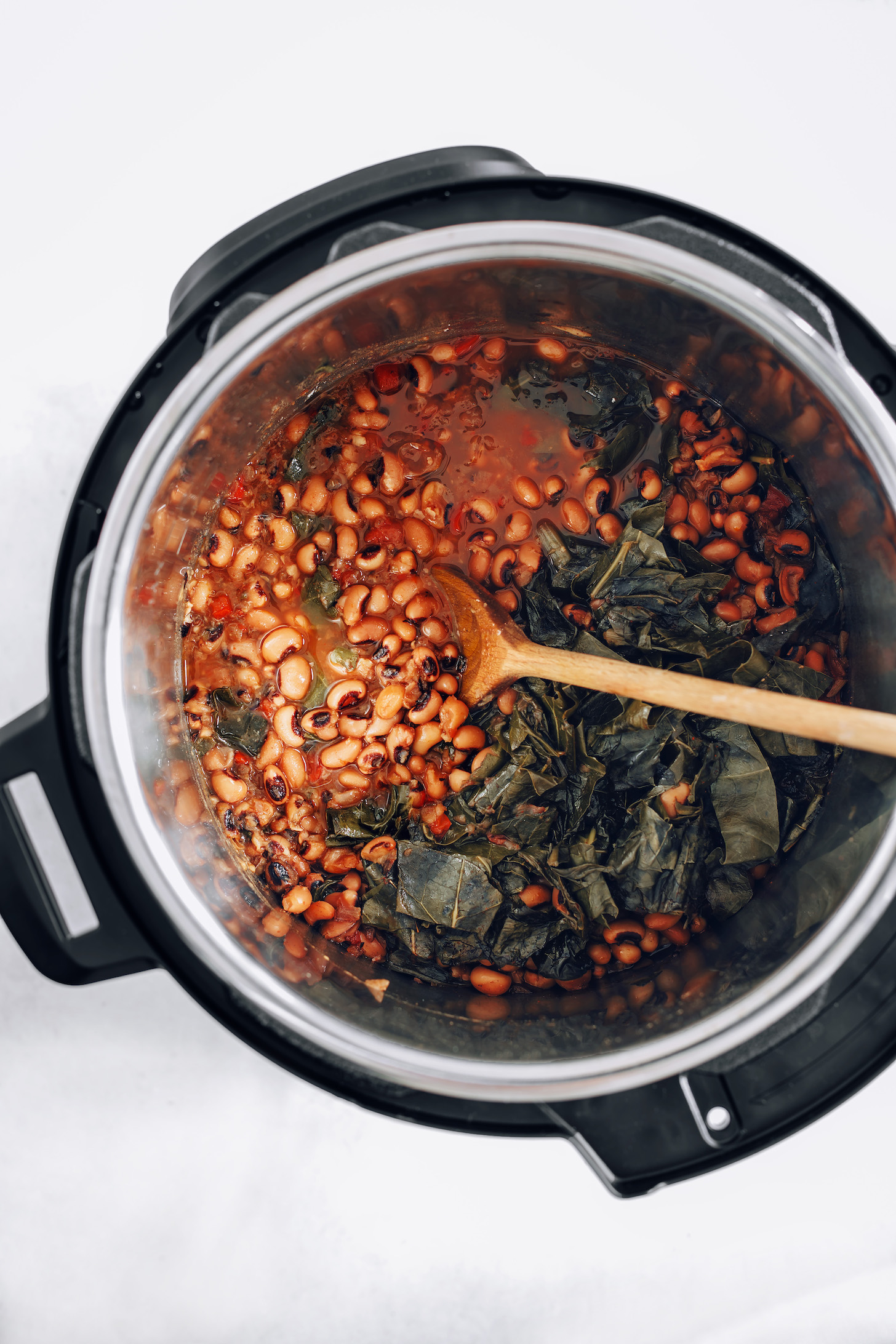 Black eyed peas and greens in an Instant Pot