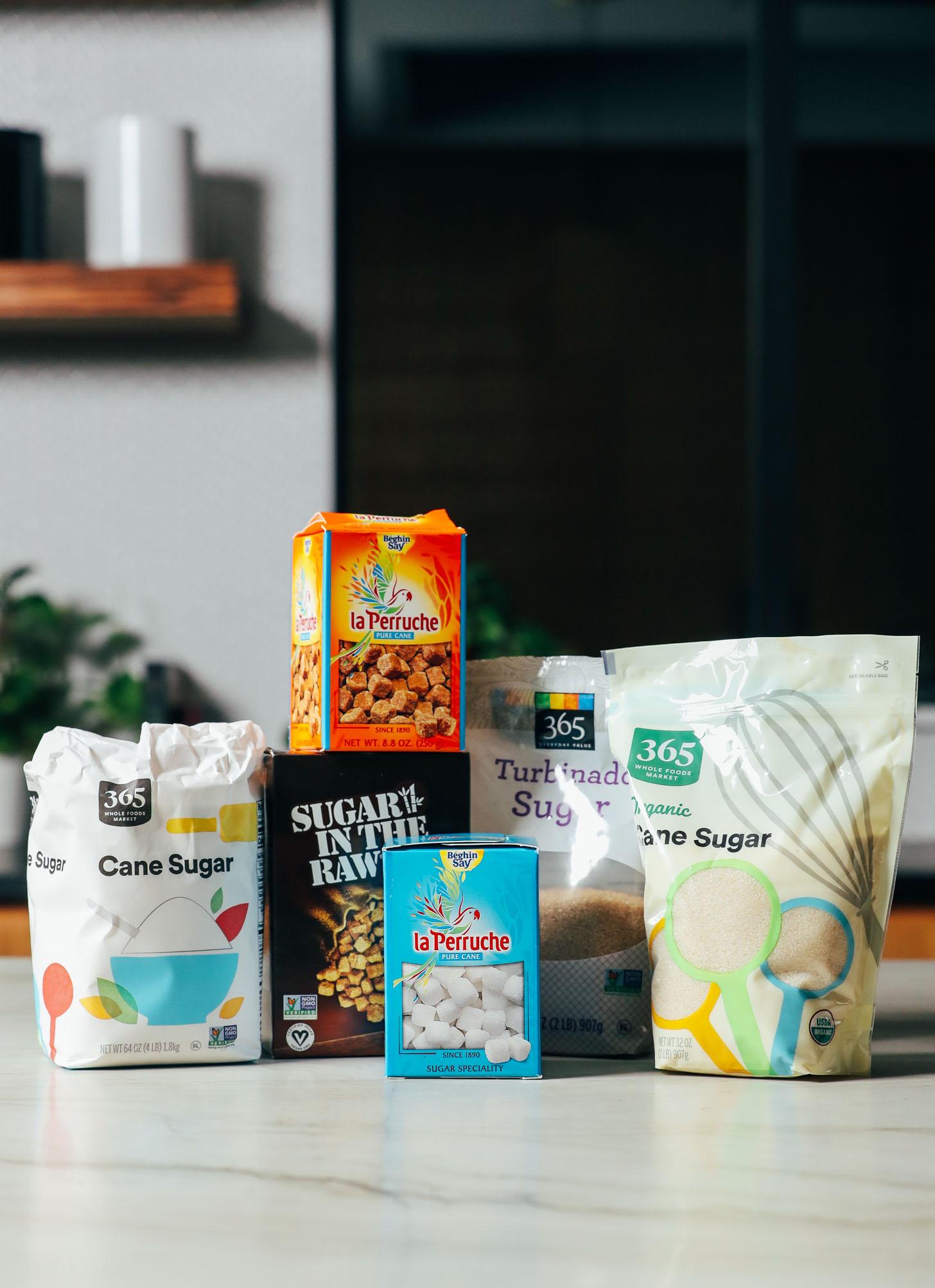 Cane sugar, turbinado sugar, sugar cubes, and more sugars for making cocktails