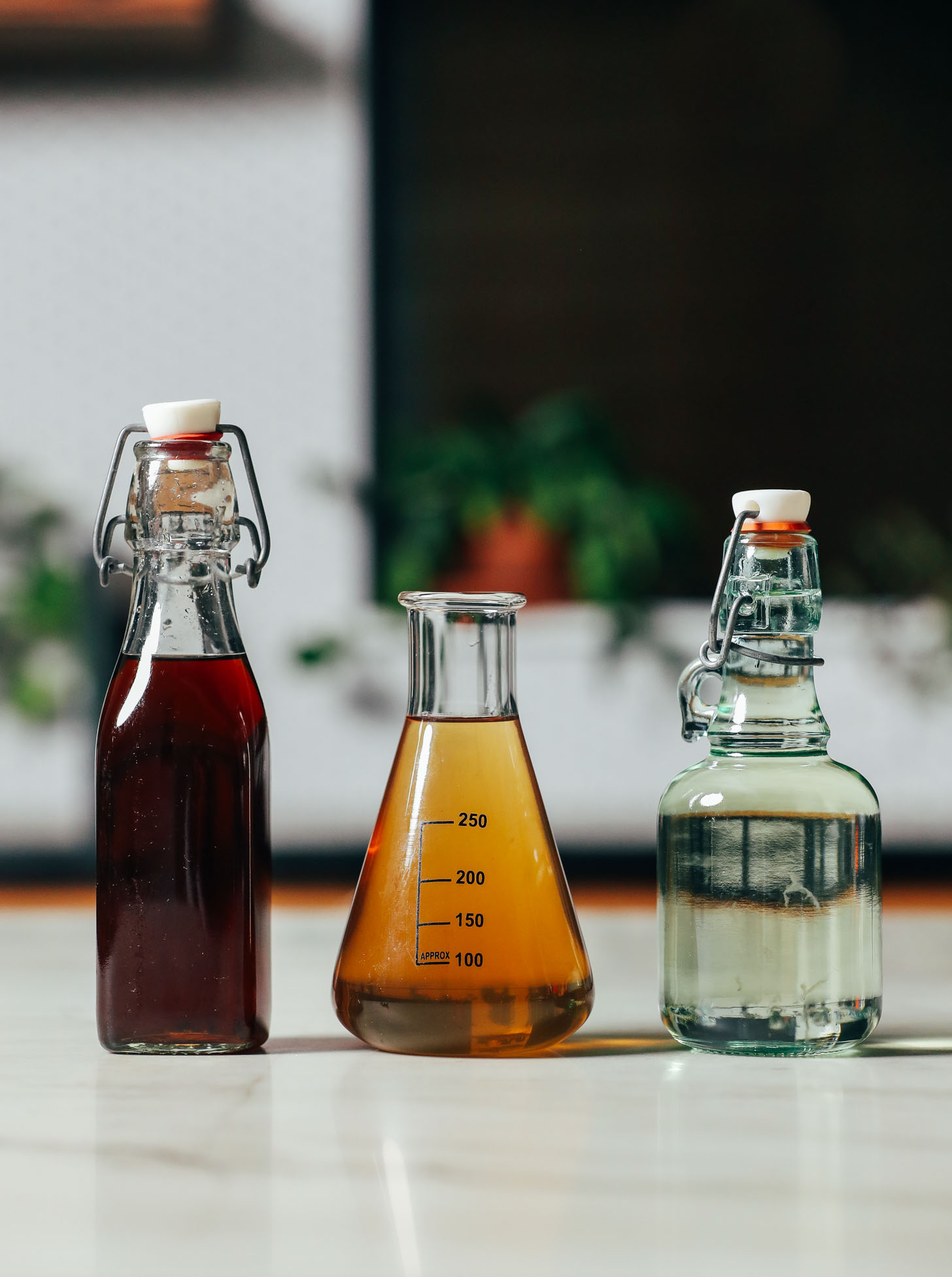 Three different types of homemade simple syrup for cocktails