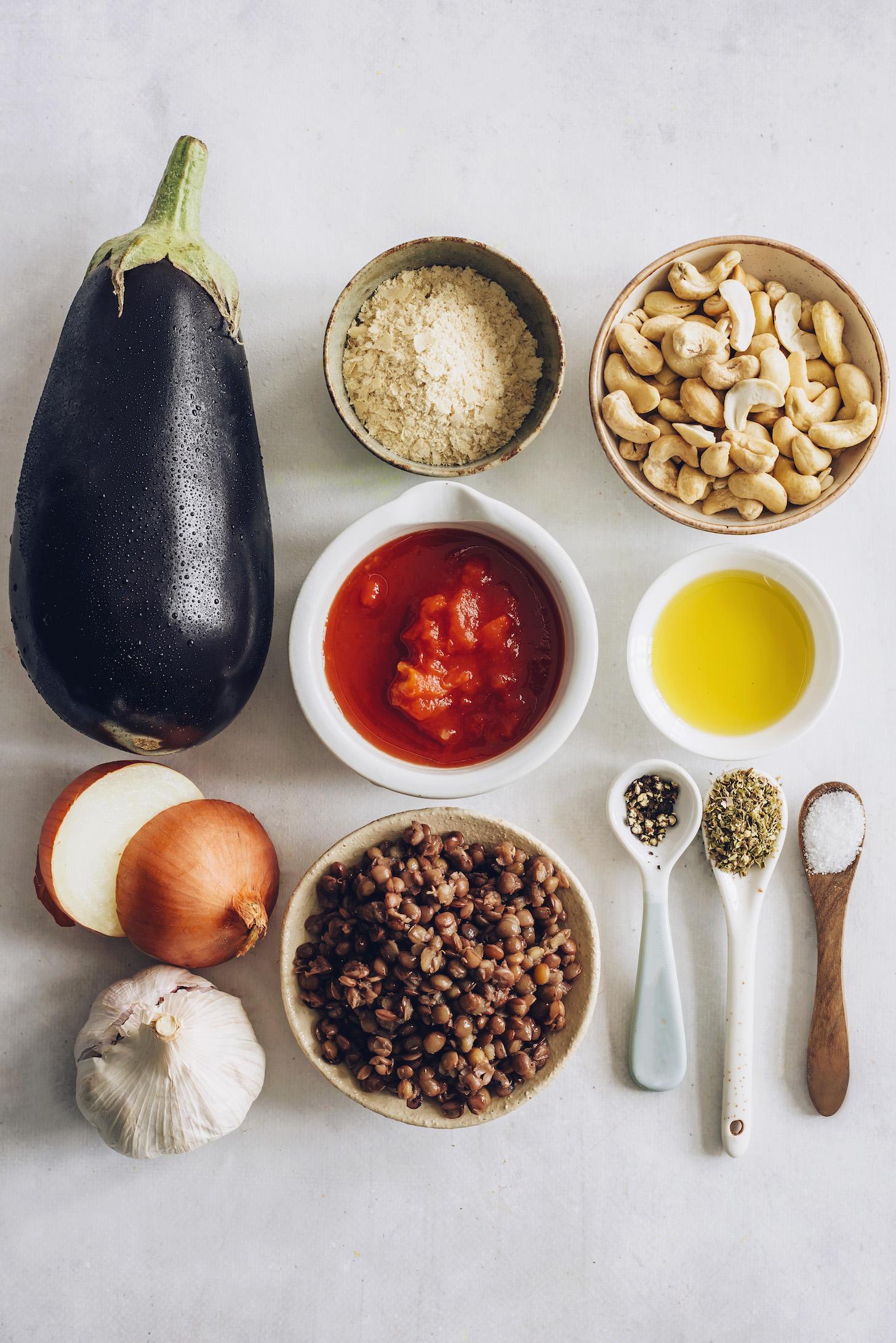 Eggplant, lentils, nutritional yeast, cashews, tomato, olive oil, onion, garlic, black pepper, oregano, and sea salt