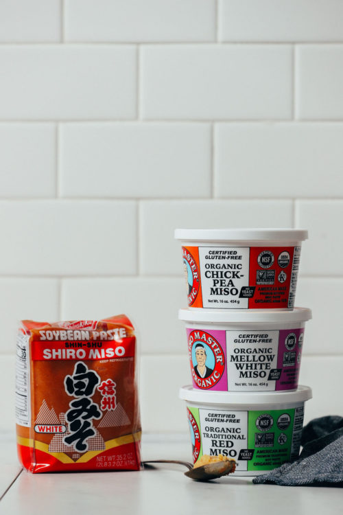 Assortment of types of miso for comparing their flavor
