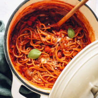 Dutch oven filled with our 1-Pot Spaghetti recipe