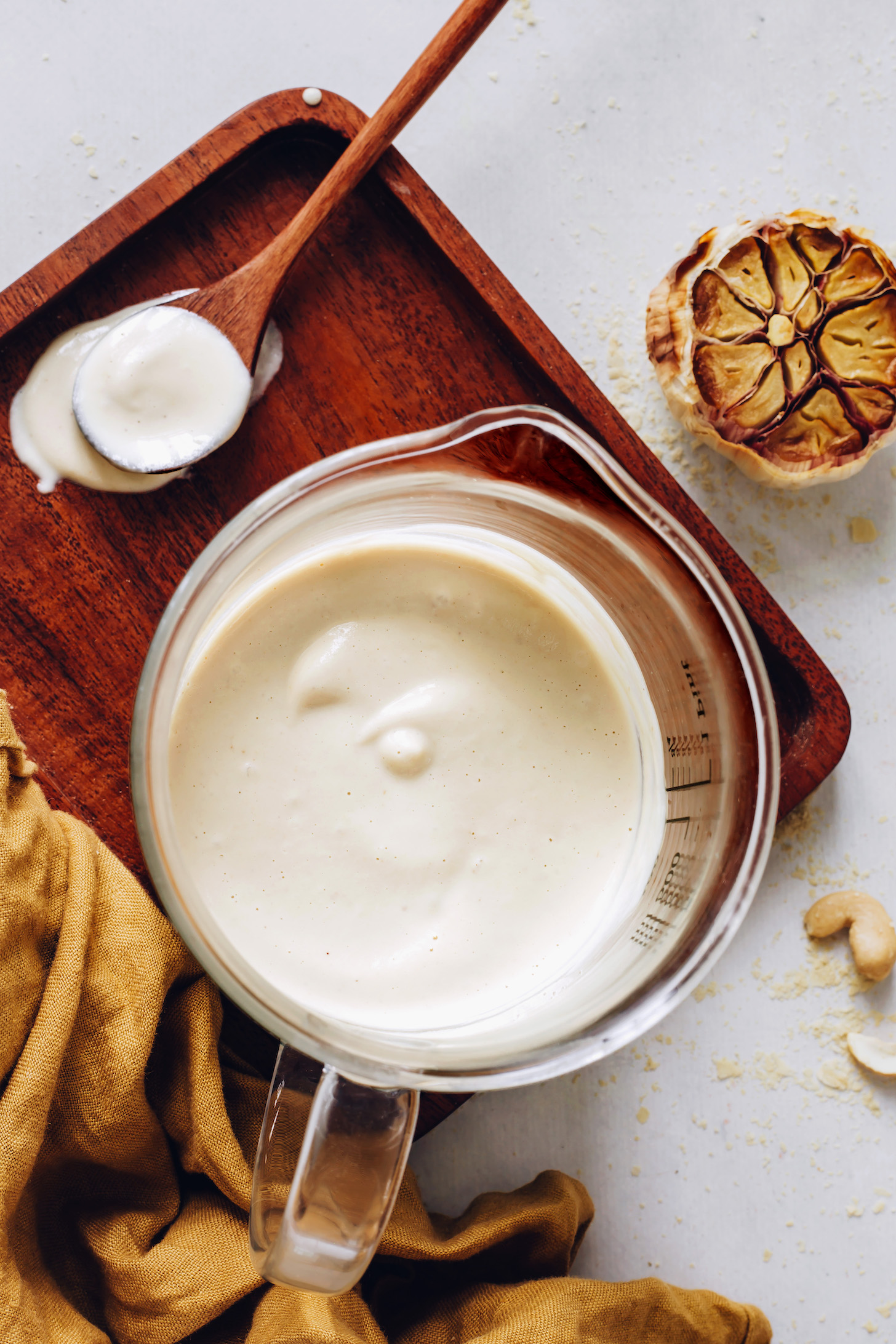 Roasted garlic, cashews, nutritional yeast, and homemade vegan bechamel sauce