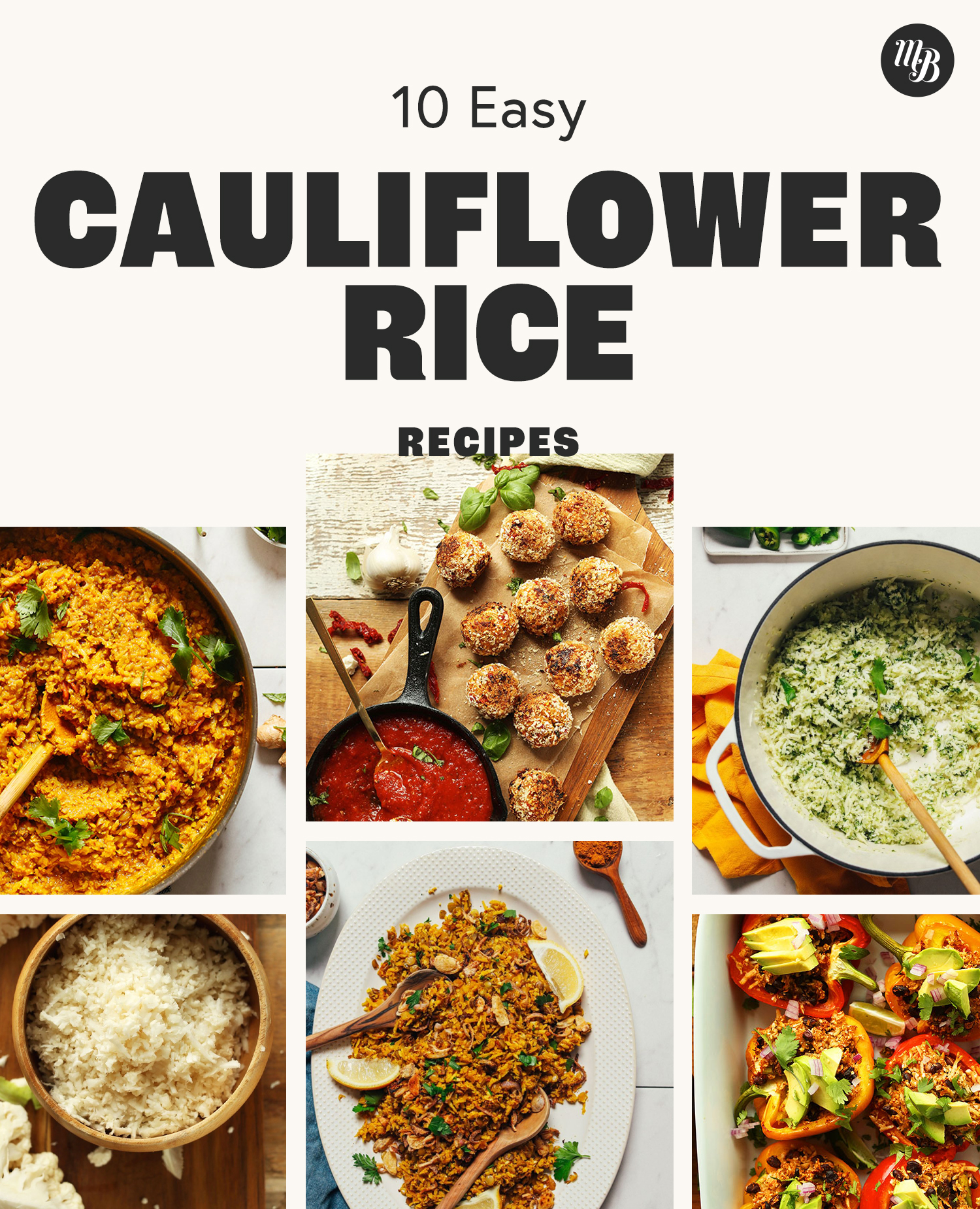Assortment of easy recipes made with cauliflower rice