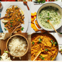 Assortment of recipes made with cauliflower rice