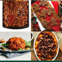 Vegan cheese wheel, cinnamon rolls, cookies, granola, and other easy holiday recipes