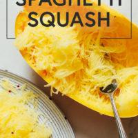 Fork in a cooked spaghetti squash half