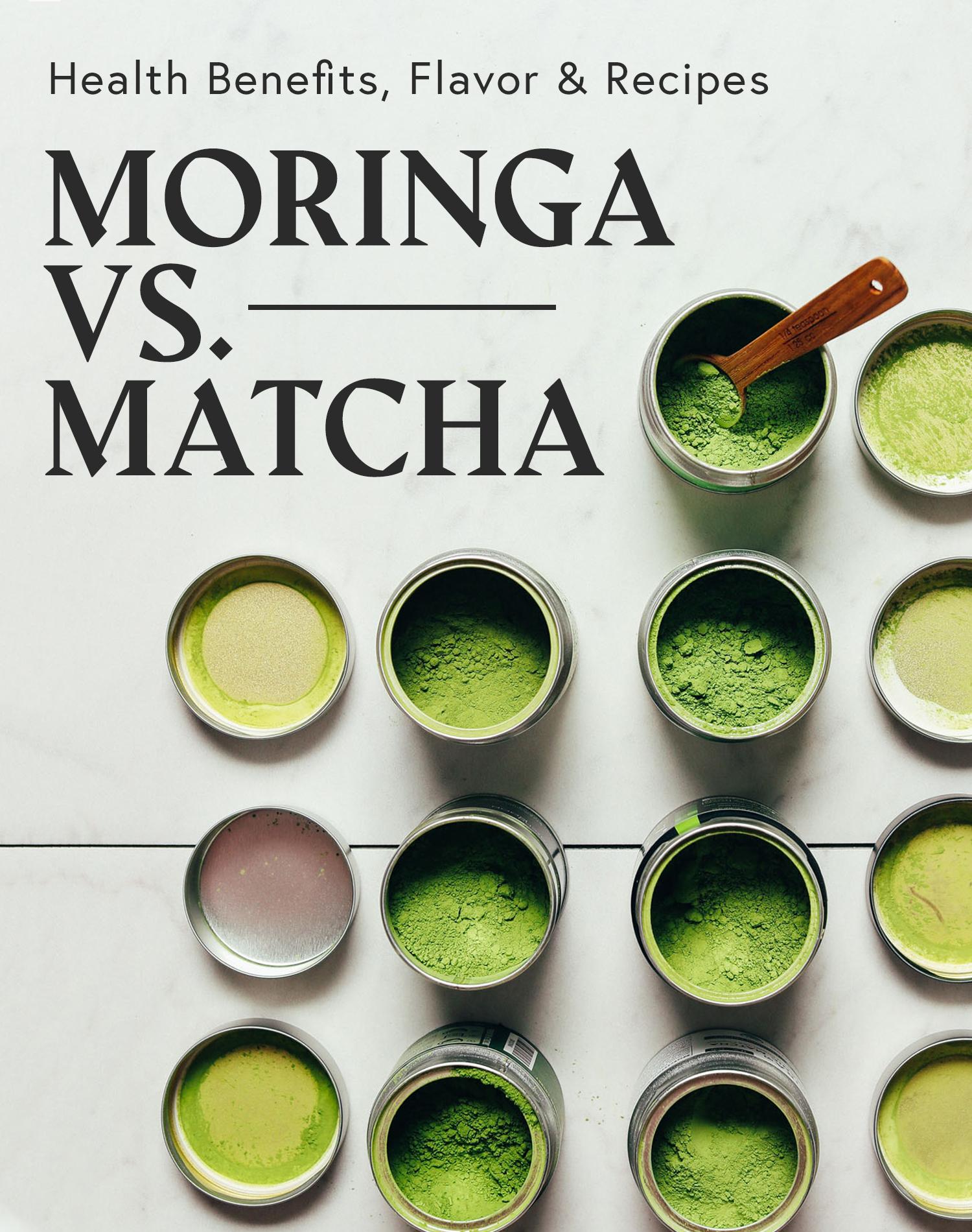 Jars of matcha for our comparison of matcha vs. moringa
