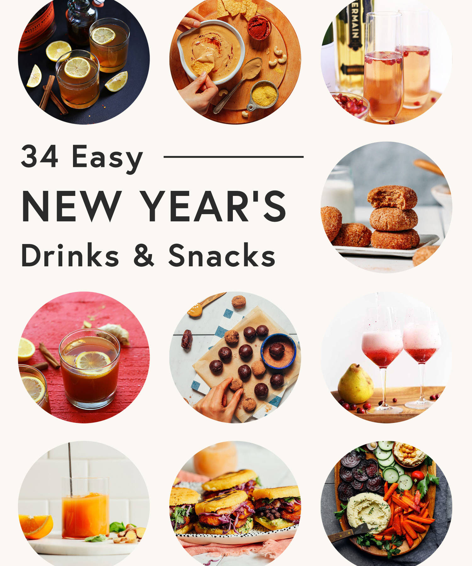 Assortment of snacks and drinks perfect for New Year's parties and beyond