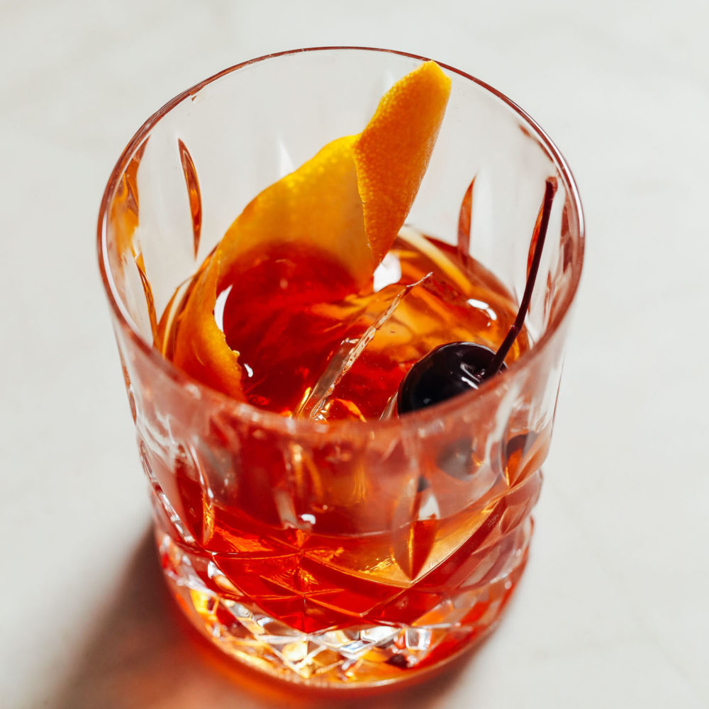 Glass of our perfect Old Fashioned recipe