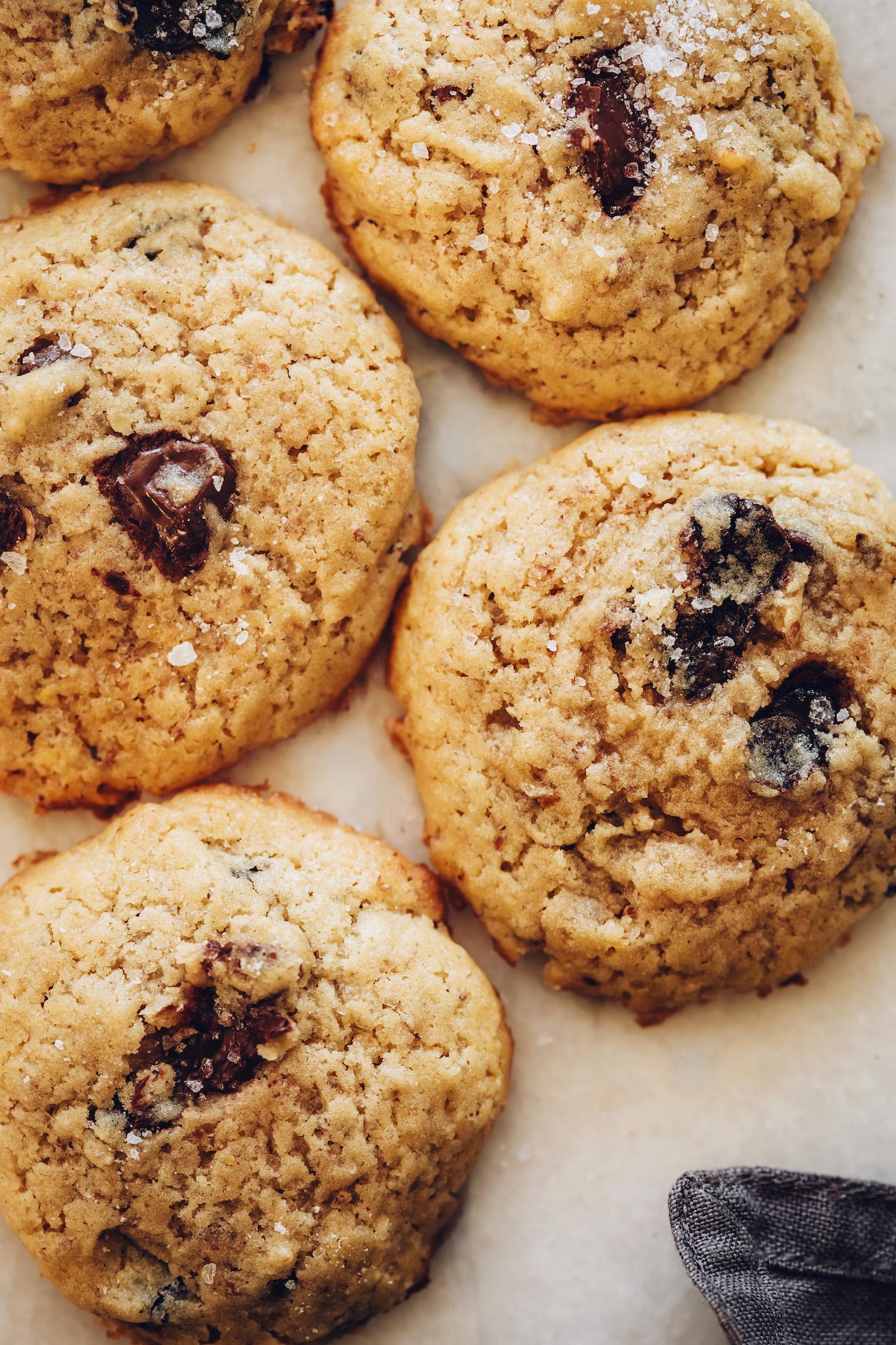 Classic vegan chocolate chip cookies sprinkled with sea salt