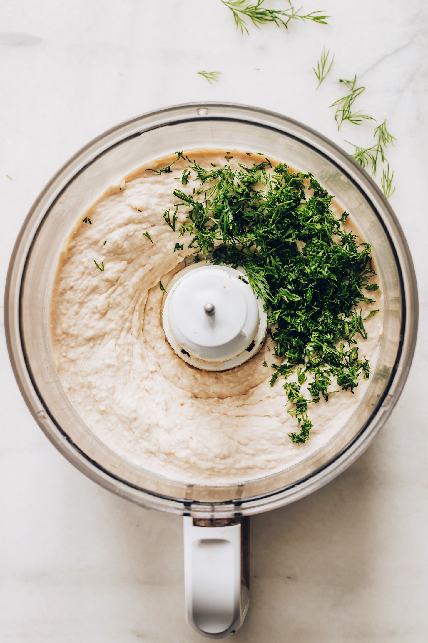 Food processor of white bean hummus topped with fresh dill