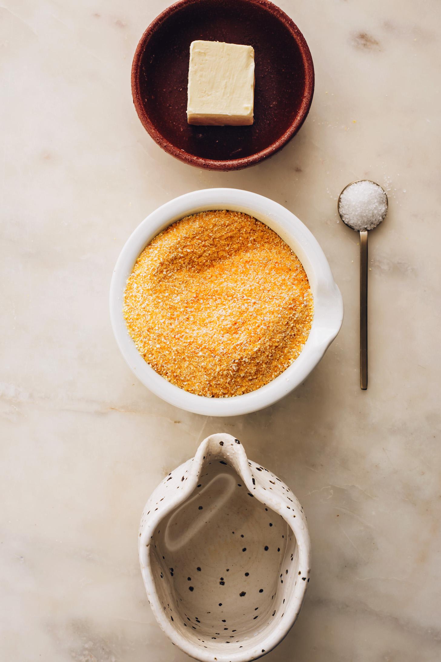 Vegan butter, polenta, water, and sea salt
