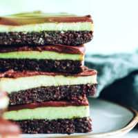 Stack of mint chocolate brownie bars