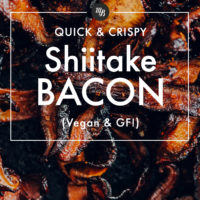 Pile of vegan bacon made with shiitake mushrooms