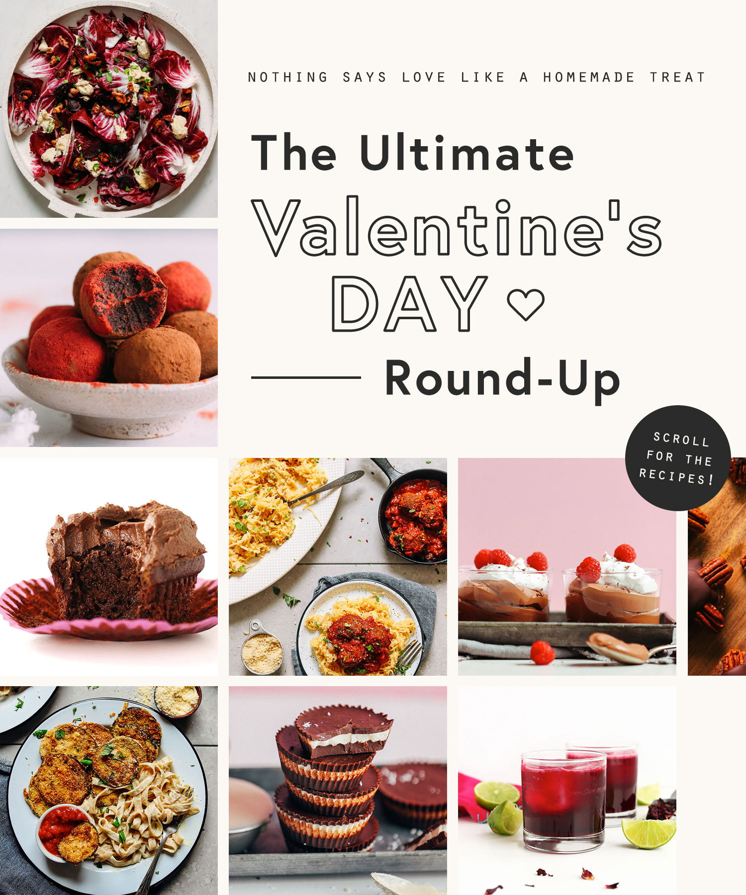 Assortment of valentine's day recipes for a homemade Vegan Valentine's Day
