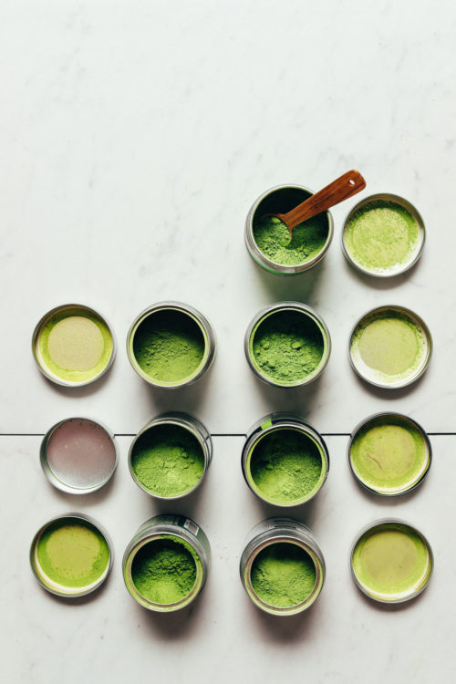 Jars of matcha for our page on the differences between matcha and moringa