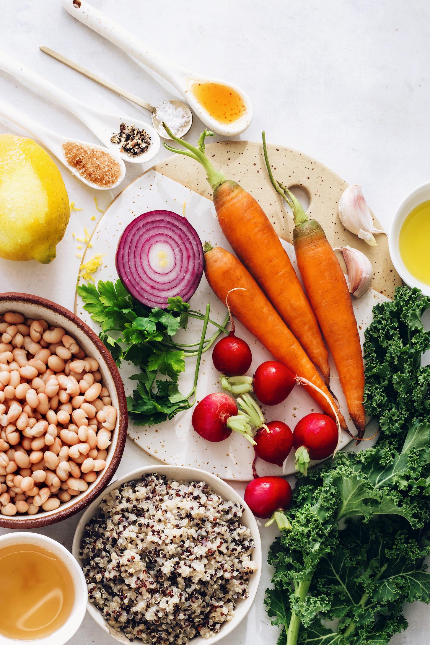 Haricots blancs, quinoa, légumes frais du printemps, ail, citron, huile d'olive, sel, poivre et vinaigre