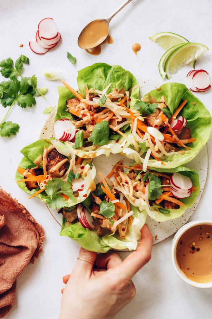 Crispy Tofu Lettuce Wraps with Peanut Sauce