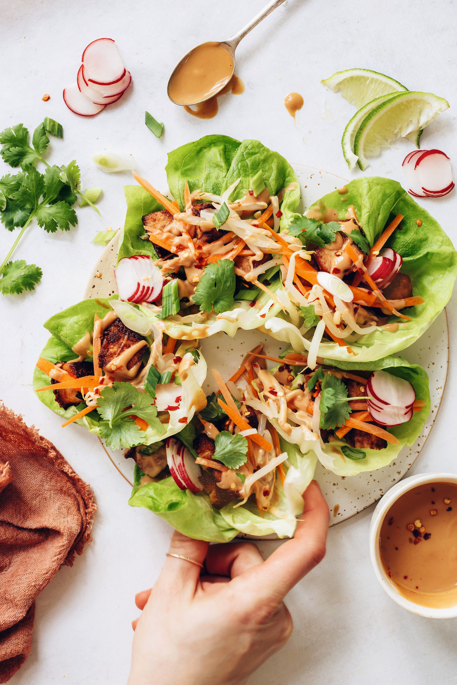 Picking up a Thai-inspired tofu lettuce wrap