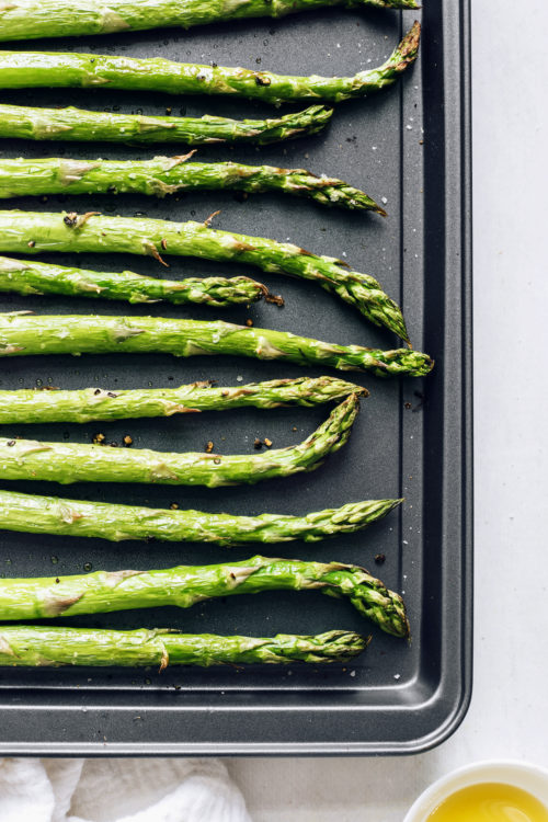 Pan of perfectly roasted asparagus