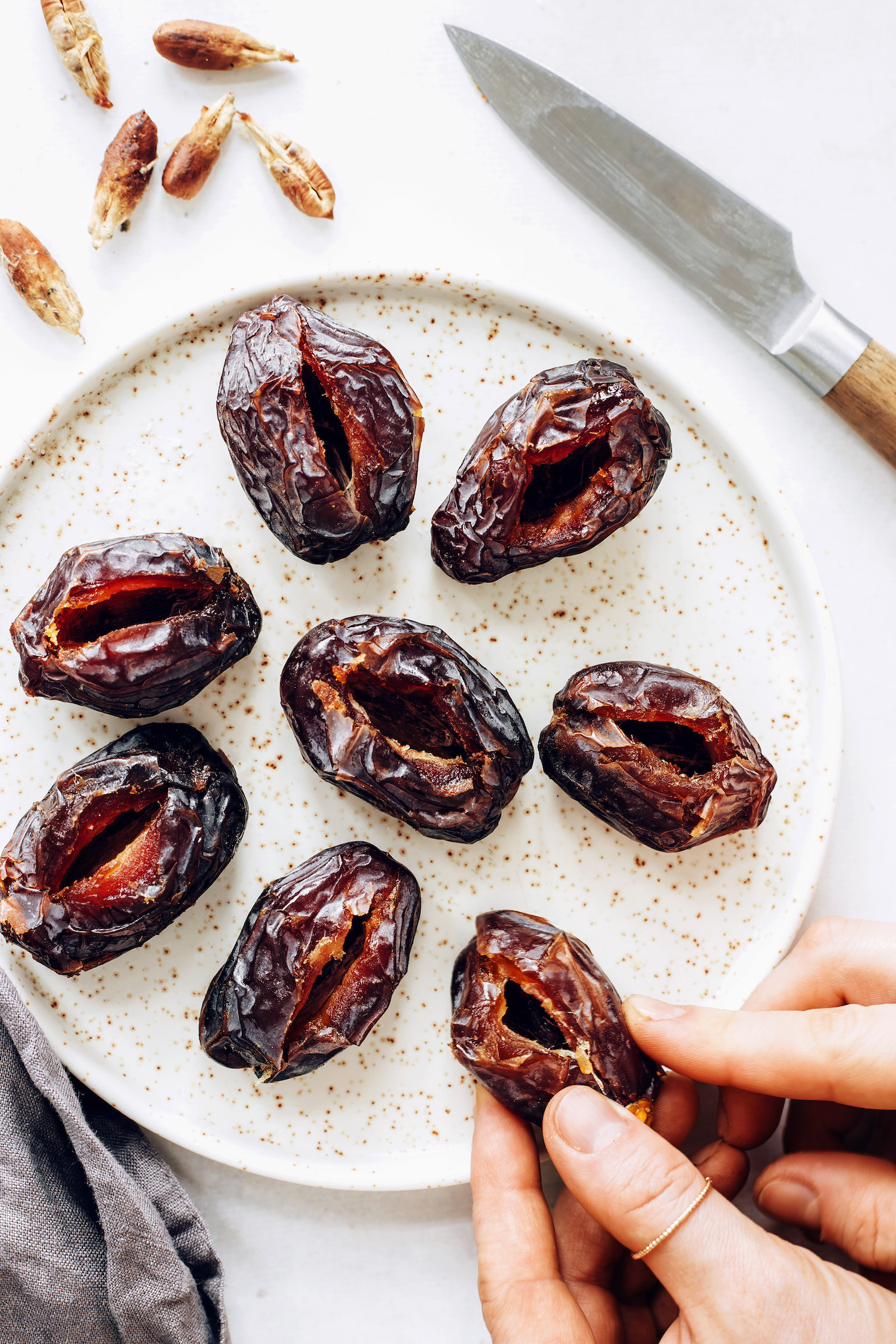 Plate of pitted medjool dates