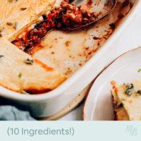 Baking pan of vegan moussaka