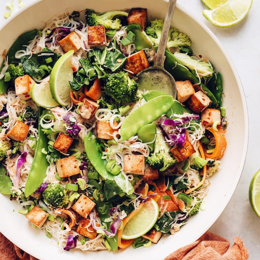 Bowl of vegan noodle stir fry with tofu