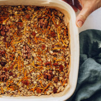 Pan of carrot cake baked oatmeal