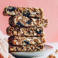 Stack of cherry almond homemade granola bars