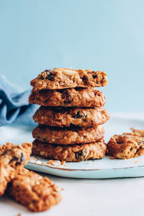 Stack of gluten-free vegan granola cookies
