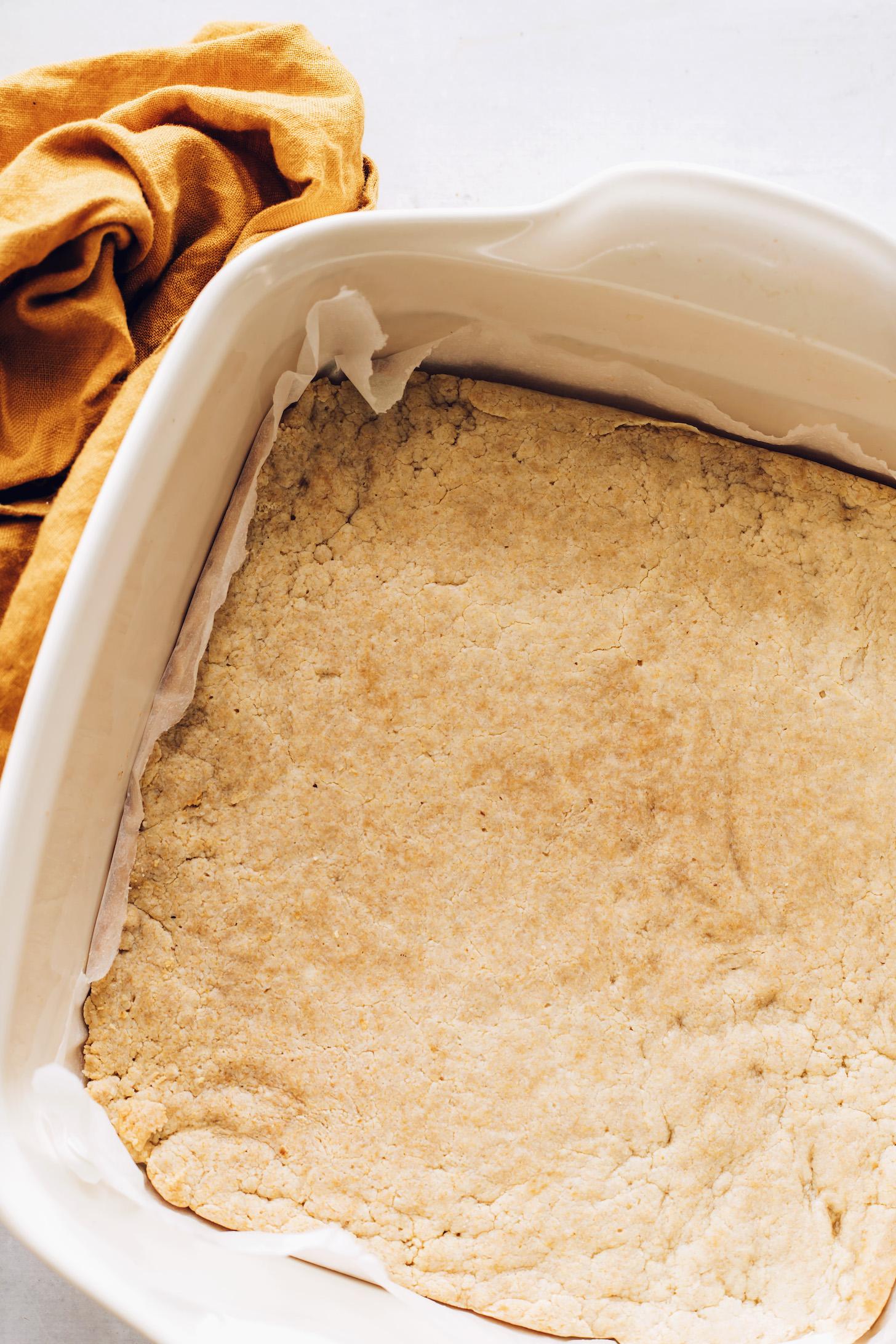 Pan of homemade Twix bars crust