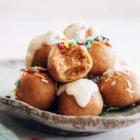 Plate piled high with no-bake sugar cookie dough bites