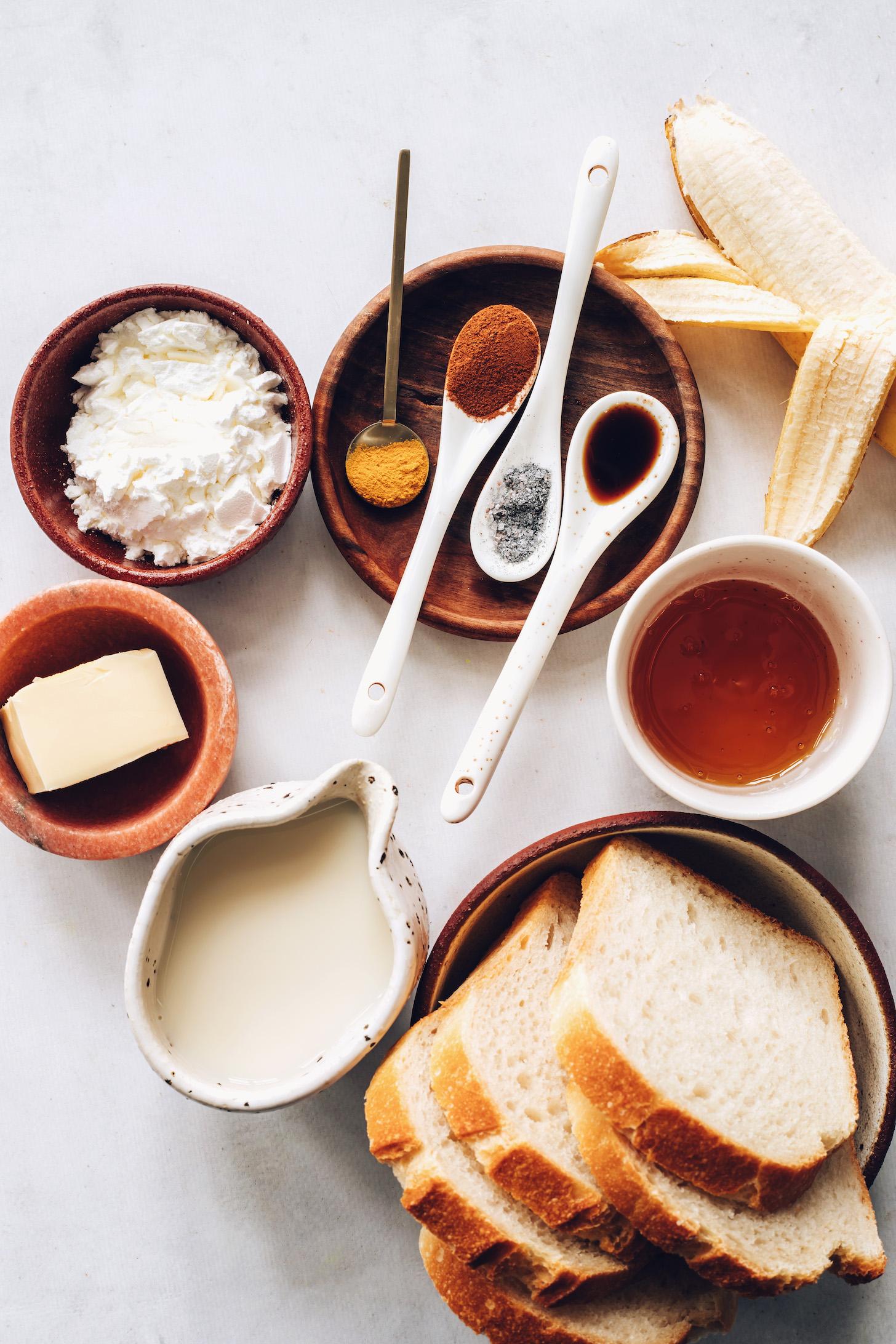 Cornstarch, vegan butter, almond milk, sourdough bread, maple syrup, banana, turmeric, cinnamon, black salt, and vanilla