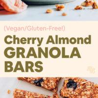 Homemade cherry almond granola bars